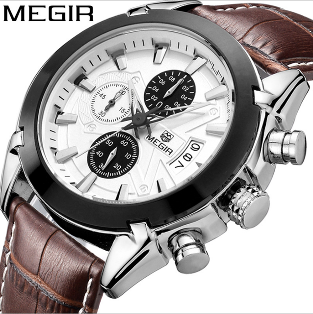MEGIR quartz male watches Genuine Leather watches racing men Students game Run Chronograph Watch male glow hands