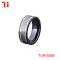 TUR10085 Top quality black mens ceramic rings engagement ring tungsten ring Mens tungsten wedding band.