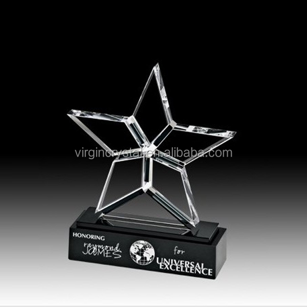Engraved new design crystal star shape trophy cup and awards plaques for graduation souvenir