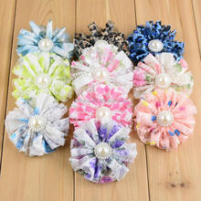 "Newest 2.7"" Chiffon Lace Flower With Pearl Center Hair Accessories for Hat Garment"