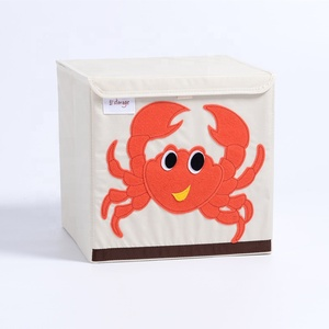 wholesale custom home multipurpose Fabric Collapsible Foldable Crab kids toy cube tool storage box basket