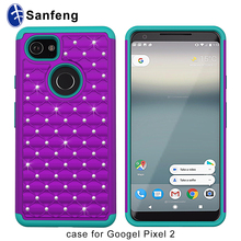 2-in-1 Hybrid Plastic and Silicone Phone Case for Google Pixel XL 2 Diamond Pc Case