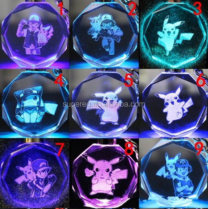 Pokemon Go Team Valor Mystic Instinct Pokeball LED Light Keychain Key Chain Ring ash ketchum pikachu