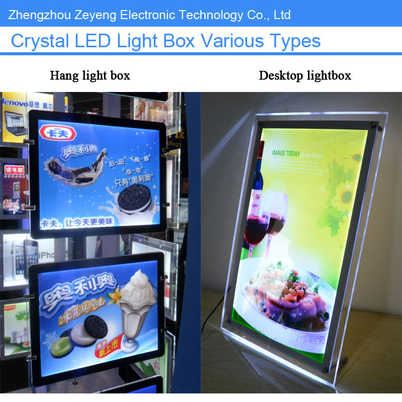 Advertising frameless acrylic sign holder A1 A2 A3 A4 led display lightbox,window led light pockets
