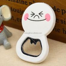 Promotion customize cartoon soft pvc rubber fridge magnet with bottle opener for message leaving