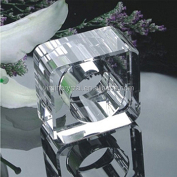 Optical Crystal Square Napkin Holder Ring Wedding