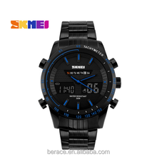 China suppliers Skmei Mens Sport Watch Date Day Display Alarm Stopwatch Backlight stainless steel Strap