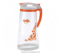 New 2014 2L Larger Capacity Food Grade Safe Clear Plastic PP Cold Water Kettle with Three Colors Pressing Lid and Handle