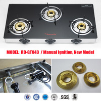 Indian gas burner gas stove 3 burner table top glass support (RD-GT043)