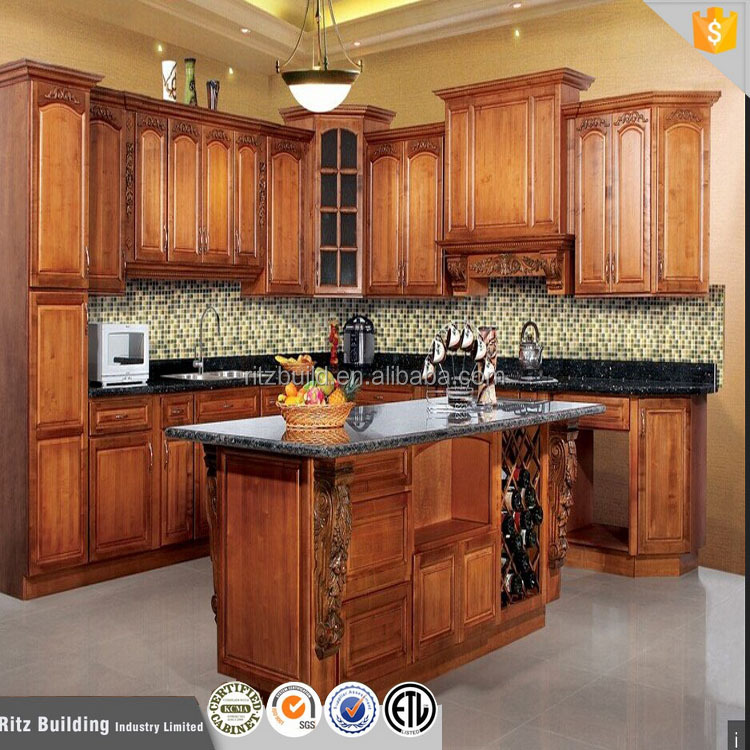 China hot sale solid kitchen cabinets nice pictures of kitchen cabinet tempered glass kitchen build