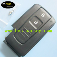 Topbest 2 buttons smart car key shell without emergency key blade no logo for toyota key fob case toyota prius key