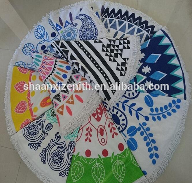 china supplier customized printed round beach towels with tassels for AU/EU/USA market