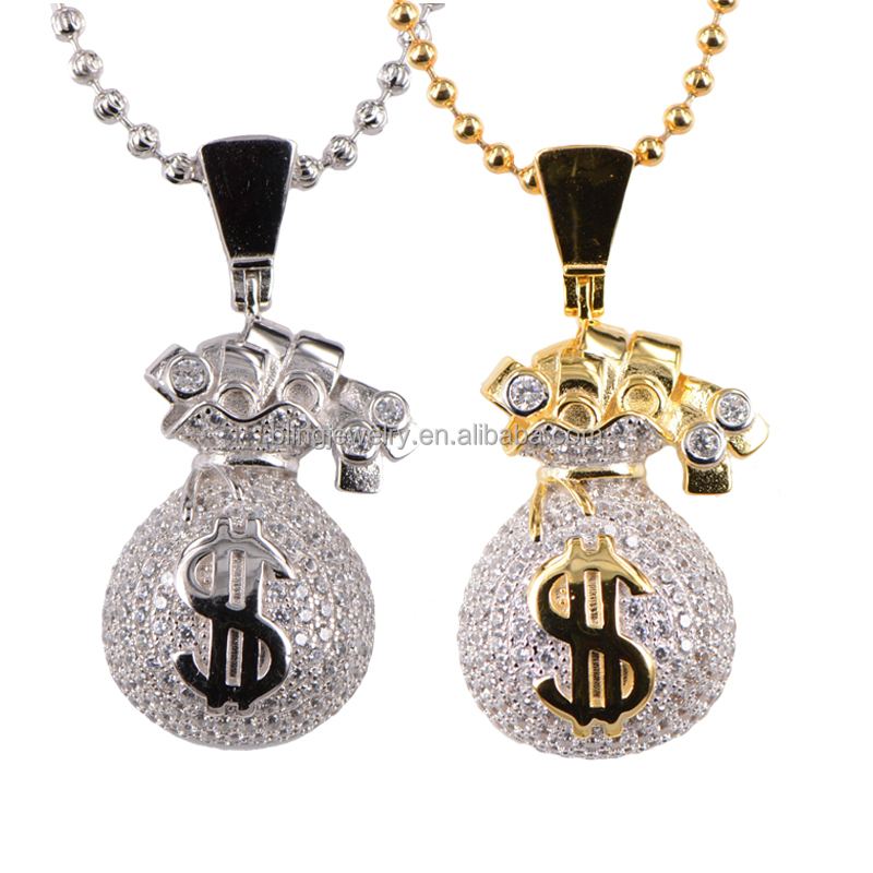 New Hip Hop CZ Micro Pave Setting Money Bag Pendant Necklace