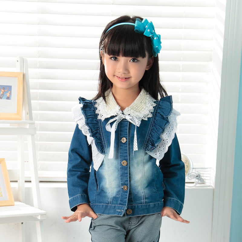 C58730S Girls Jean Jackets Kids Lace Coat Long Sleeve Button Denim Jackets For Girls 2-7Y