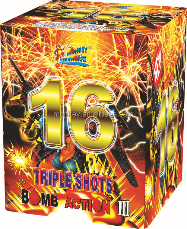 Professional Fireworks Cake and Display shell firework 1.2' 16Shots triple shots