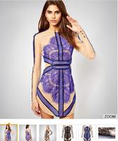 Walson latest women wear 1702 Summer Veneer Stitching Gauze Slim Sexy Bodycorn Pencil Floor Contrast Lace Dress clothes