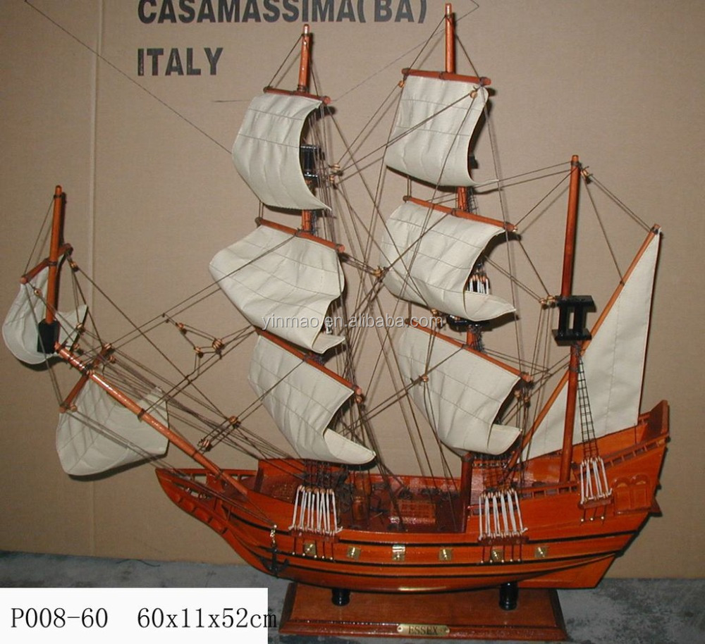 Wooden Pirate Tall ship Model, Red 60x11x52cm, Nautical Pirate Ship Model, Art Gunboat Sail yacht vessel war boat replic model