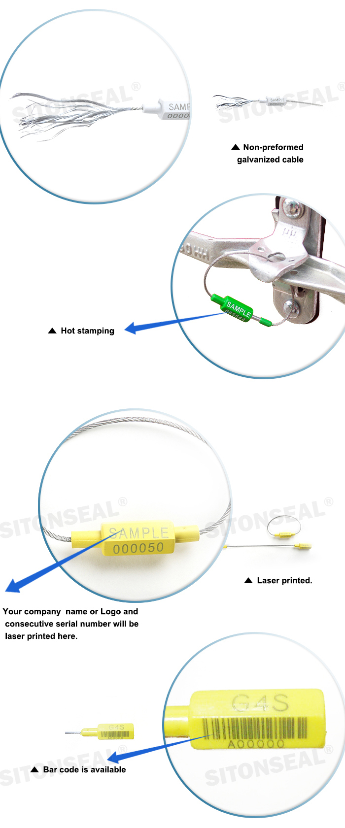 ST-2182 Non-preformed ABS Coated China Metal Cable Security Seal Supplier