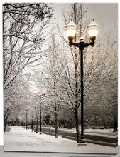 winter scene street light canvas print with led,lighted art framed led wall art picture