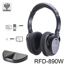 RF digital audio wireless headphones with 2.4 ghz dongle for tv
