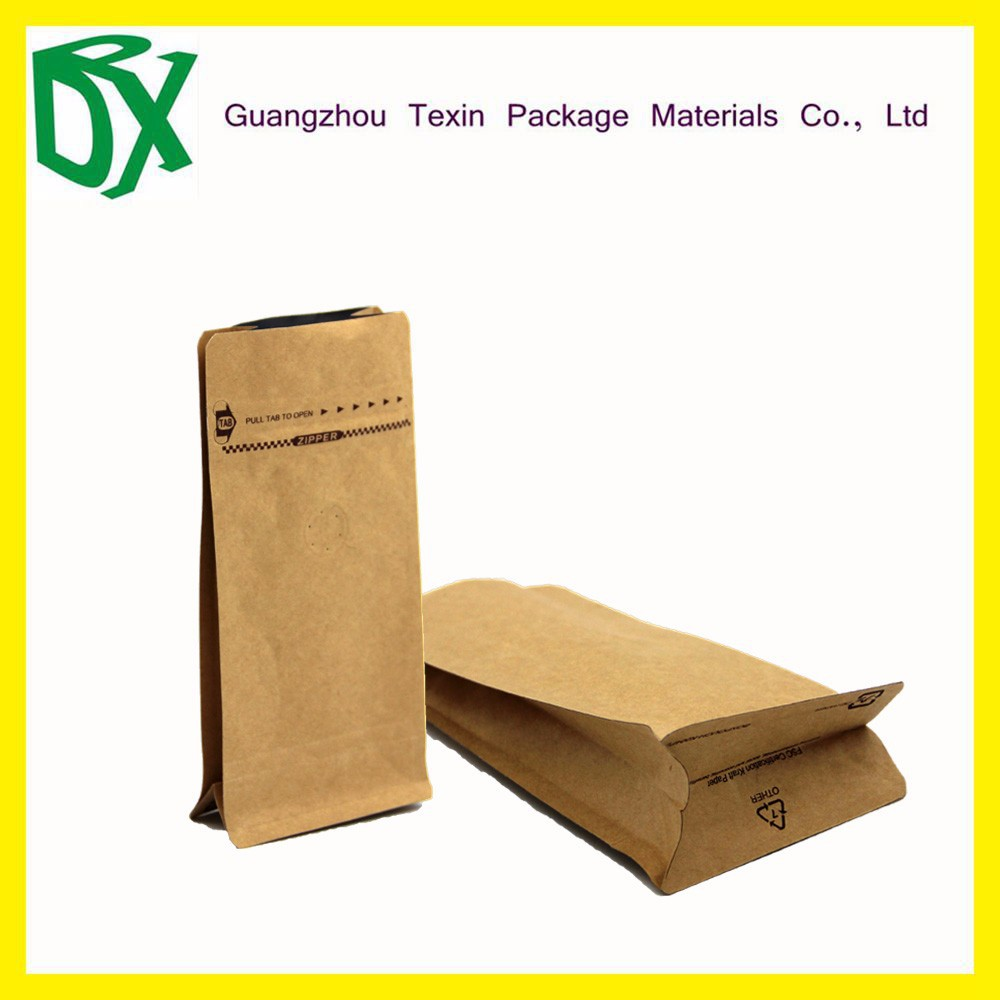 Famous Brand Stand up Side Gusset Kraft Paper Coffee Bag with zipper