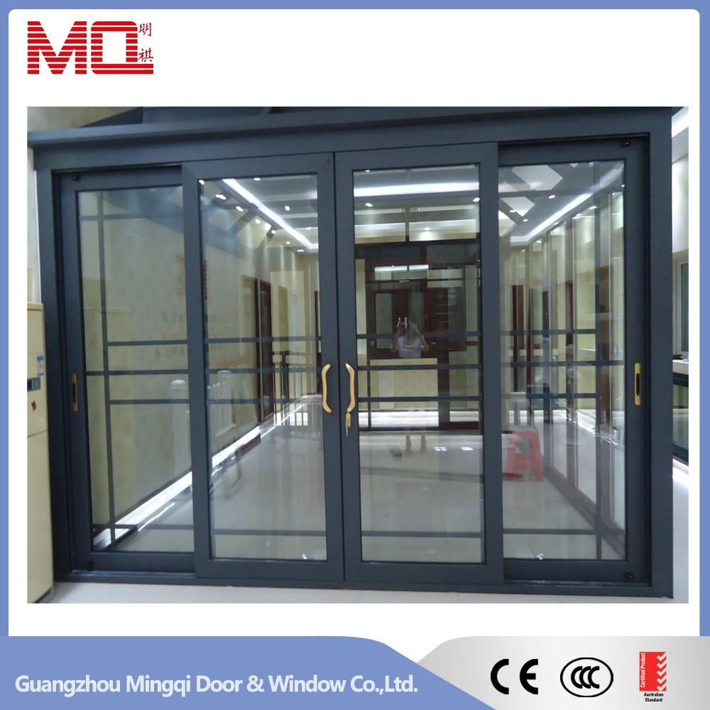 Horizontal bronze sliding glass doors aluminum