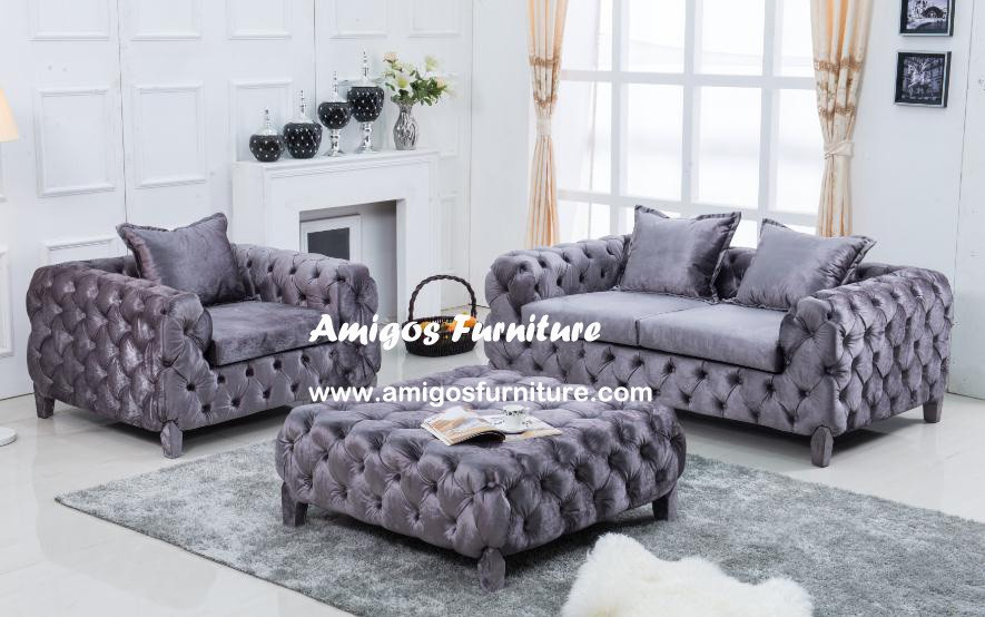 Antique Romantic violet/purple plush velvet fabric sofa set Classic living room furniture 1+2+3