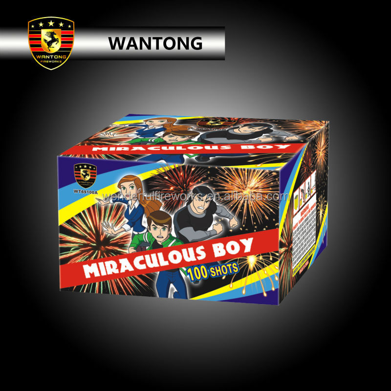 High quality display cake fireworks brocade crown effects 1inch 100shots 1.3G professional fireworks for sale