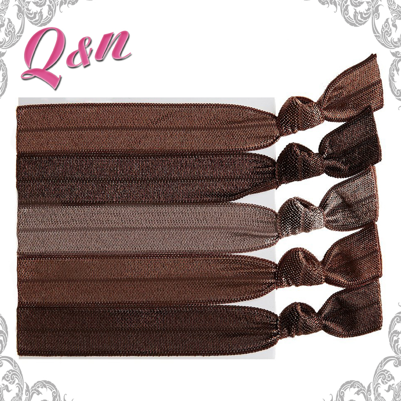 no crease knotted ribbon accessories elastic brown hair ties