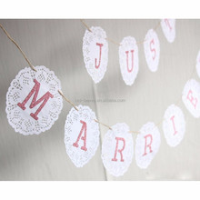 White laser cut lace Flags Bunting Wedding Party Birthday Handmade prop Fabric Garland Vintage Room Decor