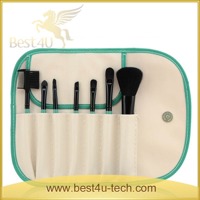 Portable Travel 7 pcs Cosmetic Leather Makeup Brush Bag