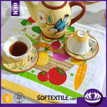 wholesale china 100% cotton printed kitchen tea towel