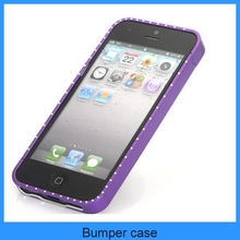 Luxury bling rhinestone Ultra Thin Metal aluminium Alloy Bumper Frame Case Cover Metal Bumper for iPhone 5 5S(PT-I5B203)