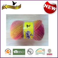 Mixed color good quality Silk Cotton polyester blend hand knitting yarn made in China