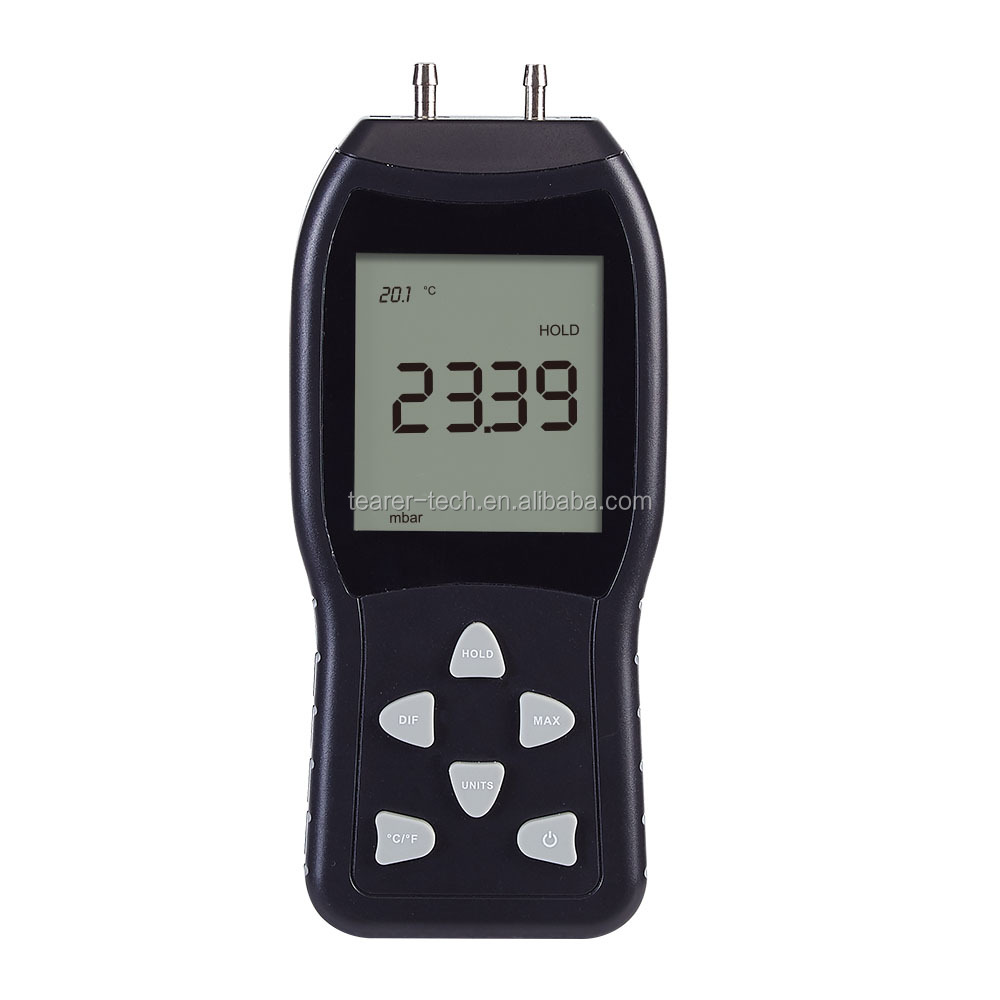 LCD Digital Manometer Differential Air Pressure Meter Gauge 3 Psi 20.68Kpa Tester Tools 12 Selectable Scales & Units TL-103