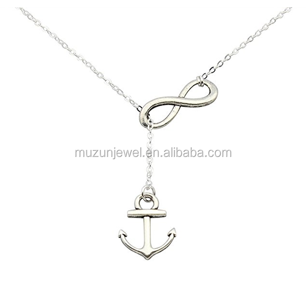 Trendy 925 Sterling Silver Anchor and Infinity Lariat Necklace