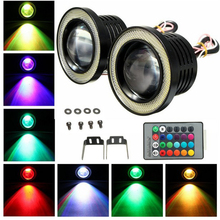EURS car drl fog lamp 89mm 76mm 3.5inch 3inch 12v 30w 1200lm rgb fog lights led cob angel eye