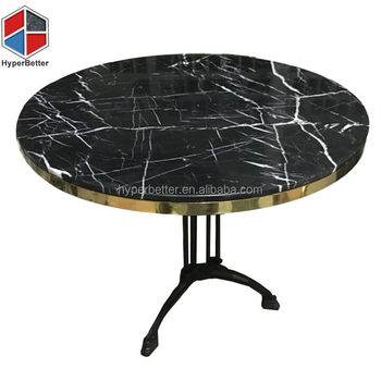 Nero marquina round marble dining table