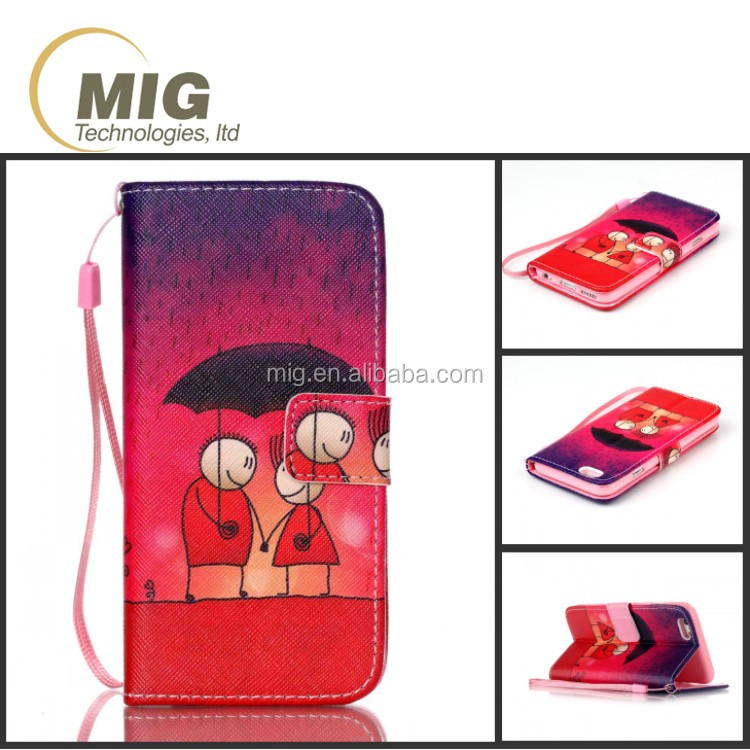 IMD Color painting PU leather lanyard wallet case for iphone 6s case leather, cell phone cover mobile case for iphone 6 6s plus