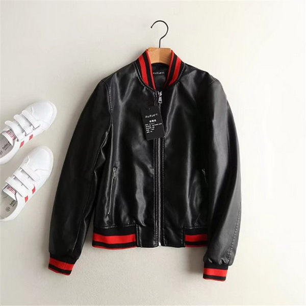 Women Cool Zipper Embroidered Faux Leather Jacket,womens leather coats