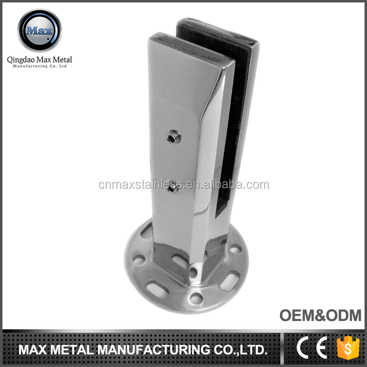 Stainless steel square flange glass spigot railing