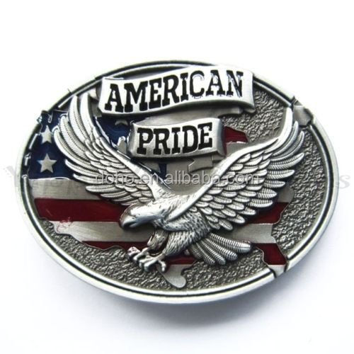 Factory manufacturing fashion antique black silver oval 3D usa eagle men's belt buckle