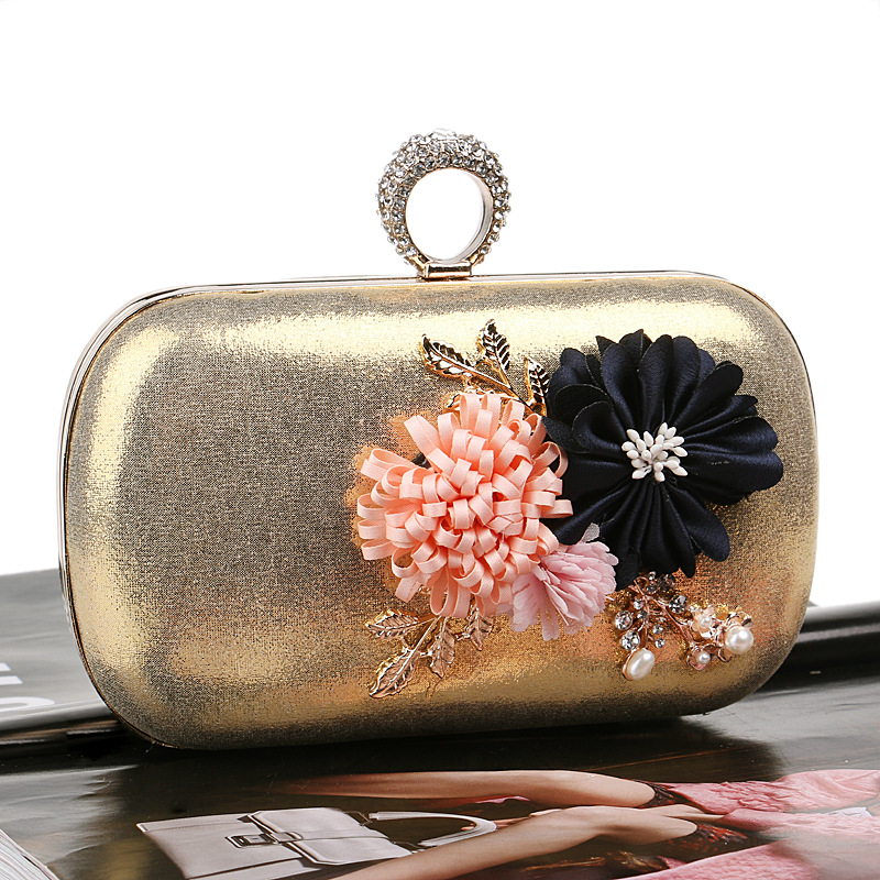RY1568 Fashion Flower Women Evening Bags Finger Ring Diamonds Metal Clutches With Chain Shoulder Purse Evening Bags For Party