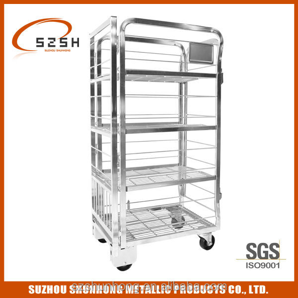 Factory Wire Transport Milk Table Trolley, Moving Roller Cage Cart SHMT-A1