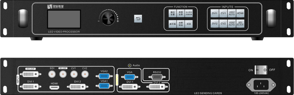 Professional 2.65 million pixels,HDMI/DVI/VGA/CVBS led display video processor