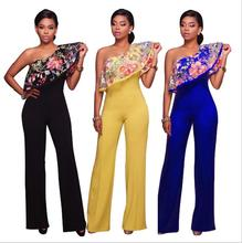 K2910A 2017 Fashion Lady Women Jumpsuit&Romper Clubwear Playsuit Bodycon Party Trousers One Shoulder Embroidery Jumpsuits For Wo