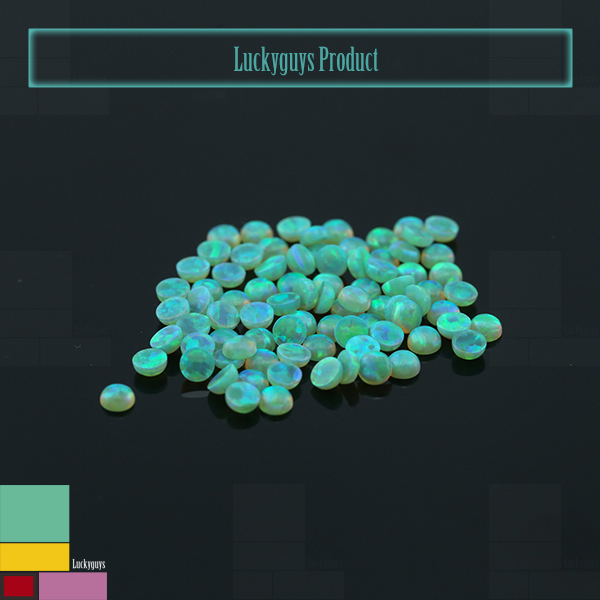 High Quality Green Round Cabochon Beads Synthetic Fire Opal On Sale Factory Price