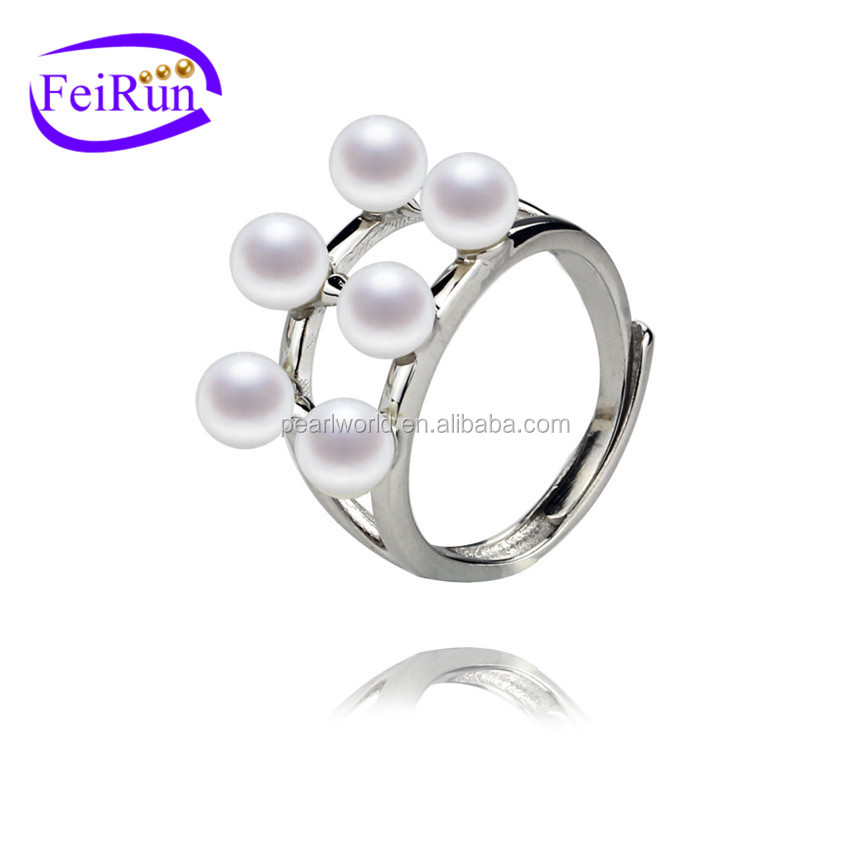 FEIRUN 4.5-5mm round AA fashion new small pearl ring, pearl ring sterling silver, antique pearl rings