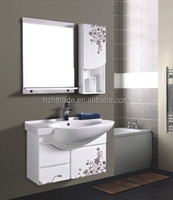 2014 PVC white wall mount bathroom cabinet with freshing flower paining