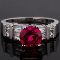 2015 Wholesale Jewelry Round Cut Red Ruby Rough Silver Tone Dress Ring